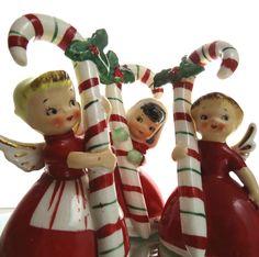 VINTAGE 1956 NAPCO CANDY CANE CHRISTMAS ANGEL BELLS