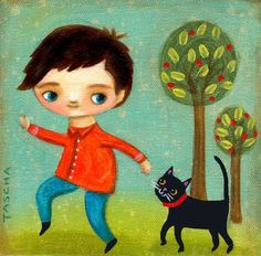Sígueme A pequeño y negro gato impresión de pintura por tascha