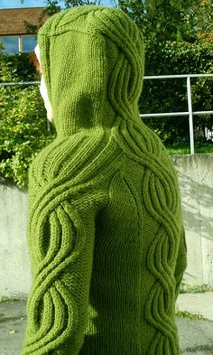 green cabled hoody