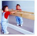 BAR AND MIRROR This bar and mirror, used in the home as well as in the infant community allows the child to practice pulling up to a standing position and cruising or moving sideways, hand over hand, foot by foot, at anytime