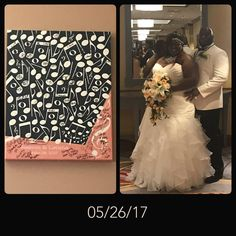 Musical Guest Book Alternative Canvas | Music Notes Guest Book Alternative | Signed Peachwik Guest Book | Musical Wedding | Jazz | Customer Photo | Wedding Colors - Peach, Black, White | peachwik.com