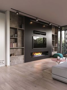 Modern and attractive TV wall design. kamin Modern and attractive TV wall design. Living Room Tv Unit, Living Room With Fireplace, Living Room Modern, Home Living Room, Living Room Designs, Living Room Decor, Tv Wall Ideas Living Room, Fireplace Tv Wall, Wall Fireplaces