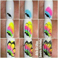 Uñas Butterfly Nail Designs, Butterfly Nail Art, Nail Art Designs Videos, Toe Nail Designs, Cute Spring Nails, Cute Nails, Nail Art Hacks, Gel Nail Art, Dandelion Nail Art