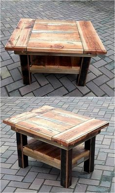 A table with 2 layers to place the items is good because it offers the space to place more items; one can place the unnecessary items on the second layer. When a person is going to create a table by restyling the wood pallets, then it is wise to go for an idea which offers more space.