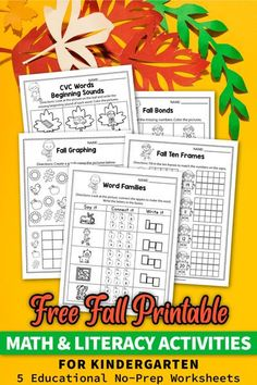 These FREE Fall worksheets for kindergarten are the perfect printable for your classroom. These can be used with kindergarten and first grade kids. I used these activity worksheets during Halloween and Thanksgiving as well. My students practice kindergarten literacy and math, CVC words, kindergarten couting, number words and more using this freebie. You can use these in November and October to practice phonics for free.