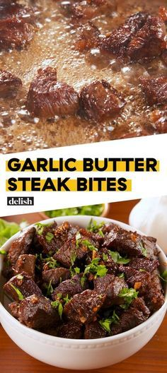 TRIED: Garlic Butter Steak Bites Are The Easiest Way To Feed Your FriendsDelish >>> these are quick and delicious but definitely need more seasoning next time before cooking the steak (be sure not to crowd the skillet so the steak really browns) Meat Recipes, Low Carb Recipes, Cooking Recipes, Healthy Recipes, Dinner Recipes, Game Recipes, Entree Recipes, Simple Recipes, Gastronomia