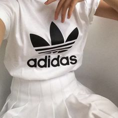 adidas top and white pleated skirt