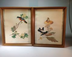 Vintage Pair of Bird Watercolors Signed by NH Hand Painted