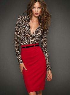 Leopard blouse red pencil skirt. I love the red/leopard combination. It announces your confidence. If you're going to work in a skirt as a man, you stand out anyway, so have fun with it!