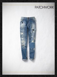 Boyfriend Jeans for Casual Chic I Love Fashion, Denim Fashion, Star Fashion, Patchwork Jeans, Denim Fabric, Perfect Jeans, Street Style Summer, Vintage Denim, Shirt Jacket