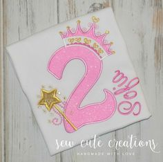 Princess Birthday Shirt Princess Crown by sewcutecreations on Etsy
