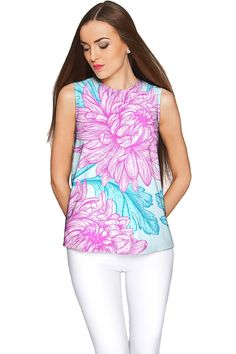 Floral Bliss Emily Blue & Pink Sleeveless Party Top - Women