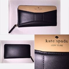 *RARE* Kate Spade Park Avenue Lacey Leather Wallet Rare item!!  Very hard to find.  Kate Spade 2 Park Avenue Lacey Accordion Zip Around Wallet in Macchiato/Black Colors. Great pre owned condition. No tears or wear.  There's a very faint pen mark and fading of the leather to the left of the logo.  There are close up pics with and without flash for reference.  Offers welcome. kate spade Bags Wallets