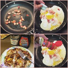 Quick easy low-carb strawberry protein pancake. Going clockwise starting at top left: 1) I prefer my strawberries to have a little grilled taste to them so I chop them up and put them in the pan first right after a LIGHT coating of olive oil.  2) then I add my eggs trying to form them into a pancake and add a bit of Truvia 3) then a little cinnamon 4) lastly flip and slide out of pan onto a plate top off with a little coconut oil and dollop of sugar-free syrup! Can we say YUMMmmm?!!! Not…