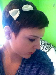 pixie cut & bow headband