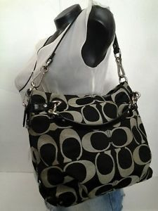 Authentic-Coach-Brooke-F17183-Signature-Black-Shoulder-bag-Leather-Trim