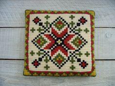 Vintage Scandanavian Crewel Wool Throw Pillow ~ Handmade Needlepoint Embroidered ~ Home Decor Decorative by RetrOAmyO on Etsy