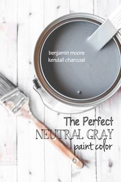 Love for an exterior paint Benjamin Moore 'Kendall Charcoal' - The Perfect Neutral Gray Paint Color - Creative Cain Cabin Neutral Gray Paint, Grey Paint Colors, Interior Paint Colors, Wall Colors, House Colors, Interior Painting, Dark Gray Paint, Shades Of Grey Paint, Grey Interior Doors