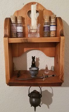 is a small wall altar I made for my tiny house. (Fuck Yeah Altars) Here is a small wall altar I made for my tiny house.Here is a small wall altar I made for my tiny house. Pagan Decor, Witch Decor, Wicca Altar, Arte Elemental, Wiccan Witch, Magick, Wiccan Spells, Magic Spells, Witch Room
