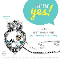 Septemer 2016 is the time to join Origami Owl!!! between September 1st and 30th you will receive this amazing owl living locket.. also if you join my team in September you will receive a special gift from me don't let let this awesome opportunity pass you by!!! www.itsaowlthing.origamiowl.com