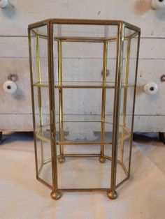 Vintage Brass Glass Table Top Curio Cabinet Display Shelf Case Box