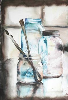 Ball Jars – 15″ by 22″ watercolor on paper.  A fun snow day project featuring three vintage jars and a few of my prettiest paintbrushes.