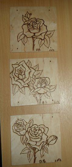 wood burning, roses