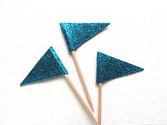 Teal Glitter Flag Cupcake Toppers, Party Decor, Double-Sided, Color Options, Weddings, Showers, Birthdays, Nautical,  Set of 15 - pinned by pin4etsy.com