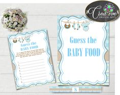 GUESS The BABY FOOD game for baby shower with boy clotheline and blue color theme printable, digital, Jpg Pdf, instant download - bc001 #babyshowergames #babyshower