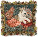 Fox Terrier and Cushions Needlepoint Pillow