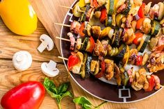 Nutrisystem provides a tasty and easy recipe for chicken and vegetable kebabs served over a bed of brown rice.