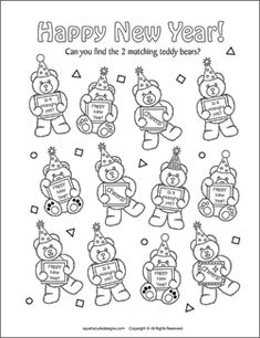 Matching Games For Kids New Years Activities Party Coloring Pages Eve