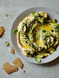 Two-herb houmous recipe by Dale Pinnock - Place all the ingredients into a blender or food processor and process into a smooth dip. Get every recipe from Anxiety & Depression by Dale Pinnock Dale Pinnock, Hummus Recipe, Hummus Food, Cooking Recipes, Healthy Recipes, Healthy Food, Health Eating, Appetisers, Fresh Herbs