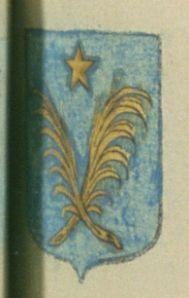 Antoine DE LISLE. Porte : d'azur, à deux palmes adossées, les tiges passées en sautoir d'or, surmontées d'une étoile de même, posée au milieu du chef | N° 8