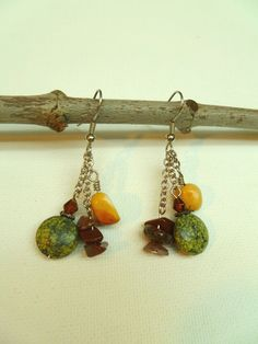Chain and Stone Dangle Earrings by MTBigskyJewelry on Etsy, $15.00