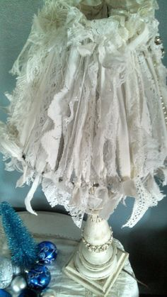 Shabby Chic Lamp Shade White Fabric Vintage Lace by TinkerMelz, $15.00