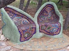 Glass mosaic butterfly bench
