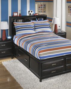 Shop Ashley Furniture Fisher Stripe Full Tob Set with great price, The Classy Home Furniture has the best selection of Bedding to choose from Kids Twin Bedding Sets, Full Comforter Sets, Ashley Home, Striped Bedding, Kids Furniture, Comforters, Fisher, Signature Design, Youth
