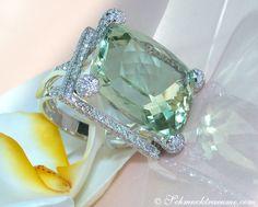 Prasiolith Brillanten Ring Weißgold 750