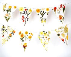 Flower Floral Garland Bunting vintage prints yellow orange Spring - http://www.babyshower-decorations.com/flower-floral-garland-bunting-vintage-prints-yellow-orange-spring/