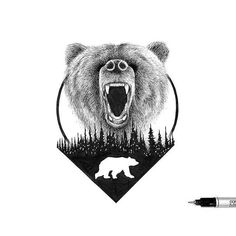 Discover recipes, home ideas, style inspiration and other ideas to try. Tribal Bear Tattoo, Bear Tattoos, Animal Tattoos, Body Art Tattoos, Bear Illustration, Ink Illustrations, Victoria Secret Wallpaper, Green Bear, Bear Design