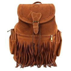 Retro Women Faux Suede Backpack Travel Bag Fringe Shoulder Bag Satchel S21