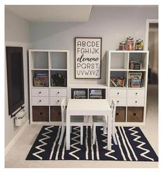 great idea for kids playroom using ikea kallax or expedit with desk and baskets! great idea for kids playroom using ikea kallax or expedit with desk and baskets! Ikea Playroom, Toddler Playroom, Playroom Organization, Playroom Design, Playroom Ideas, Modern Playroom, Organization Ideas, Kids Playroom Storage, Office Playroom