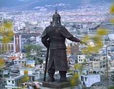 A statue of Admiral Yi Sun-sin looks out over the city of Mokpo, South Korea
