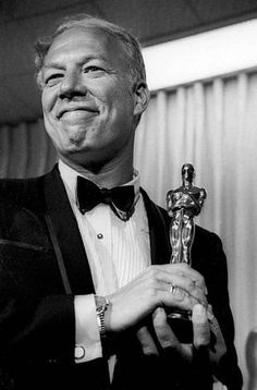 """Rest in peace. George Kennedy poses April with his Oscar in Santa Monica, Calif, after he was presented with it as best supporting actor. He won the award for his role in the film """"Cool Hand Luke."""" It was his first Oscar. Cool Hand Luke, Hollywood Stars, Classic Hollywood, Old Hollywood, Best Actress, Best Actor, Santa Monica, George Kennedy, Kennedy Jr"""