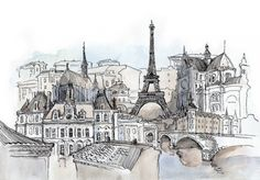 watercolor of Paris!