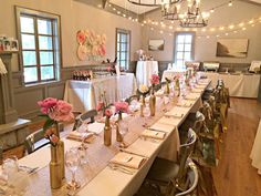 Bubbly Bar, Blush, Pink & Gold Bridal/Wedding Shower Party Ideas | Photo 2 of 39 | Catch My Party, Long Tables, champagne blush runners, gold bottles