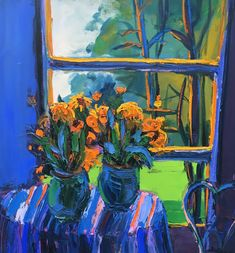"""Henrietta Berk (American, """"Table with Flowers"""", probably ca. oil on canvas, signed Bay Area Figurative Movement, Canvas Signs, Colored Highlights, Colour Schemes, Abstract Landscape, Impressionist, Art Images, Printmaking, Still Life"""