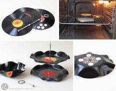 Etagere aus Schallplatten