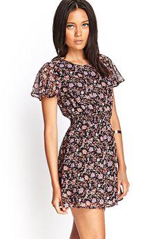 Floral Flutter Sleeve Dress | FOREVER21 - 2000069686